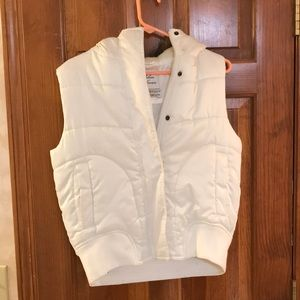 White puffer vest with faux fur hood